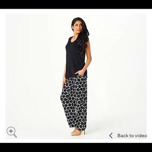 Susan Graver Liquid Knit Printed Wide Leg Pant-SM